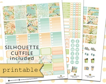 Printable Planner Stickers for use with Erin Condren Life Planner/Weekly Planner Sticker Kit/Vintage Garden Planner Stickers/Digital