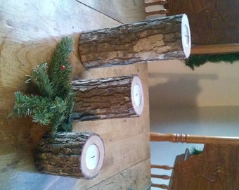 Upright Candle log with 3 separate pieces- arrangable
