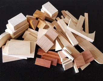 Lot 50+ wooden shapes/ miniature wooden pieces/ wood scraps for craft projects/ small wooden blocks/ art supplies/ wooden craft supplies