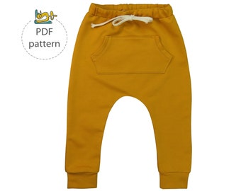 Harem pants pattern, baby harem pants sewing pattern, pdf, baby sewing pattern, toddler sewing patterns, boy sewing patterns, baby pants pdf