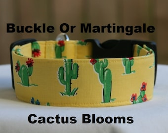 Personalized Monogrammed Cactus Blooms-Yellow-Cacti-Desert Flower-Adjustable Buckle-Martingale Dog Collar-Large Breed Dog- 1.5 -2 inch width