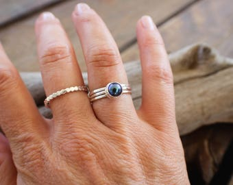 Black Pearl Stacking Ring, Sterling Silver Stacker, Gemstone Pearl Ring, Silver Ring