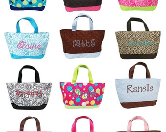 Personalized Quilted Kids Girls Tote Bag Purse Monogram Name Embroidery | Add to watch list