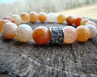 Gemstone Agate Stretch Bracelet, Beaded Bracelet, Rhinestone Bracelet, Gem Bracelet, Womens Beaded Bracelet, Stacking Bracelet, Peach