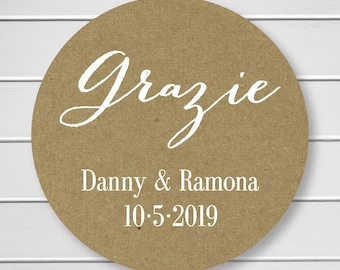 Personalized Grazie Sticker, Grazie Labels, Kraft Stickers, Kraft Thank you Stickers (#049-KR-WT)