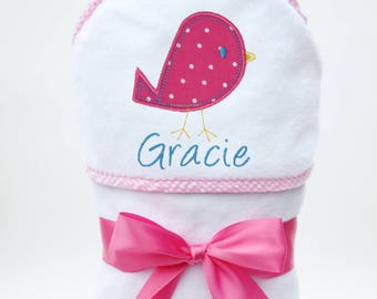 Hooded Baby Towel, Baby Bath Towel, Personalized Baby Towel, Monogrammed Towel, Bird Baby, Baby Beach Towel, Baby Girl, Toddler Girl