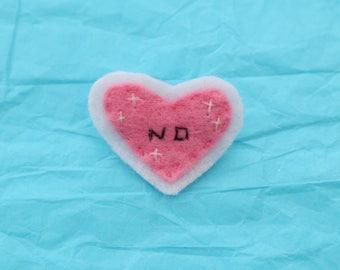 NO Pink Heart Felt Brooch