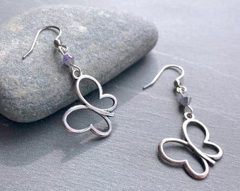 Silver butterfly and purple Swarovski crystal earrings