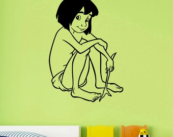 Mowgli Wall Decal Vinyl Sticker The Jungle Book Disney Art Cartoon Decorations for Home Housewares Kids Boys Room Nursery Custom Decor mg3
