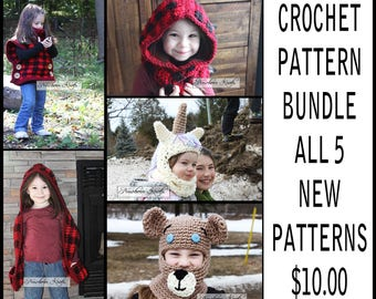 Crochet Pattern Combo all 5 new patterns. Instant Download