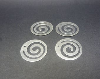 8 charms thin round spiral wave 18mm silver plated brass (USBA37)