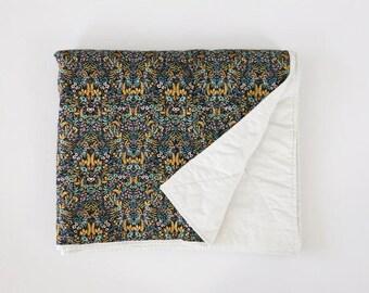Elizabethan Rifle Paper Co Whole Cloth Quilt - Rifle Paper Co Baby - Rifle Paper Co Tapestry in Black quilt - Rifle Paper Co bedding