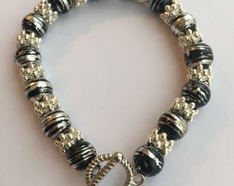 Black & silver beaded clasp bracelet