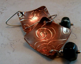Textured Organic Copper and Ocean Jasper Earrings
