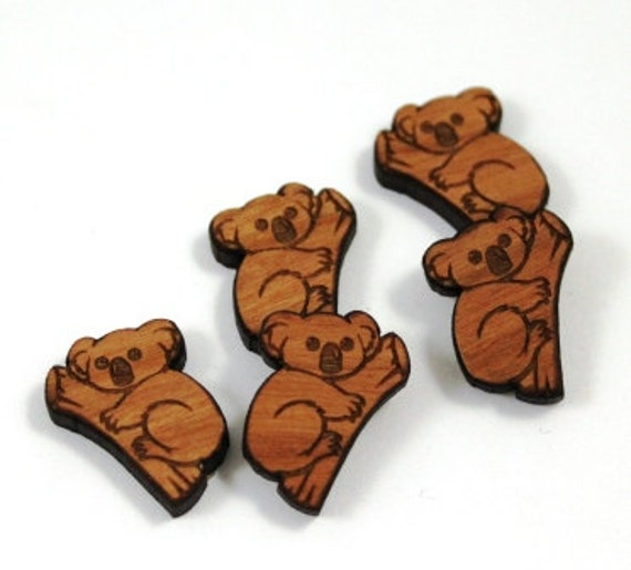 Laser Cut Supplies-8 Pieces.Koala Charms-Acrylic and Wood Laser Cut -Jewellery Supplies- Little Laser Lab Wood and Acrylic Products