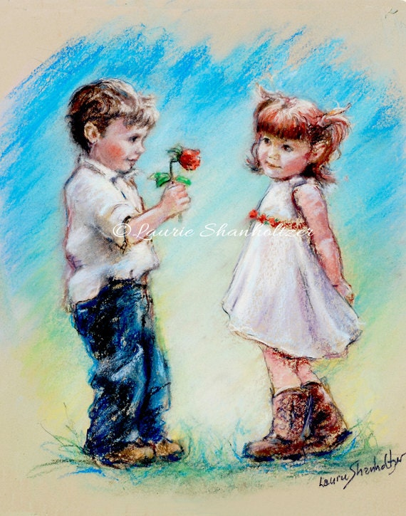 Couple sweethearts cute kids flat archival canvas print of thecheapjerseys Gallery