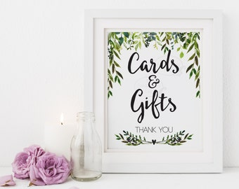 Cards and Gifts Sign Wedding Cards Presents Gifts Table 5x7 8x10 Garden Wedding Reception Table Sign Printable Rustic Leaves Laurels PCGLWS