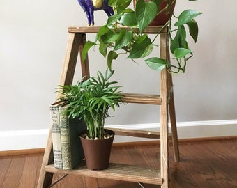 Step Ladder Plant Stand / Farmhouse Ladder / Vintage Wooden Ladder / Porch Decor / Re-purposed Knick Knack Shelf / Small Folding Ladder