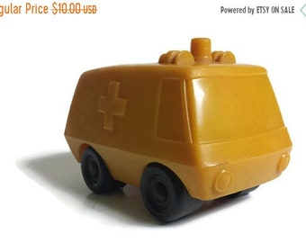 Ambulance, Vintage Toy Ambulance by Arco Industries, Play Wheels plastic car, plastic toy ambulance, yellow die-cast plastic ambulance
