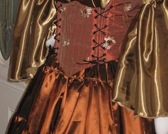 DDNJ Choose Fabrics Renaissance Side Lace Bodice Chemise Skirt 3 pc Plus Custom Made ANY Size Pirate Lolita Costume Wench Gypsy Medieval