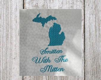 Michigan embroidery design, Smitten With The Mitten, machine embroidery, filled stitch design