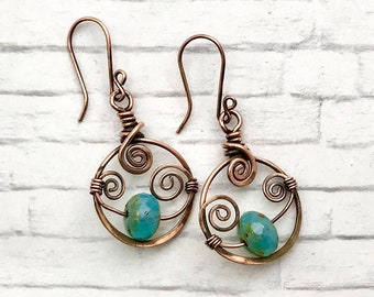 handmade earrings, copper earrings, bead earrings.  March birthday gift, March birthstone, wire wrapped earrings