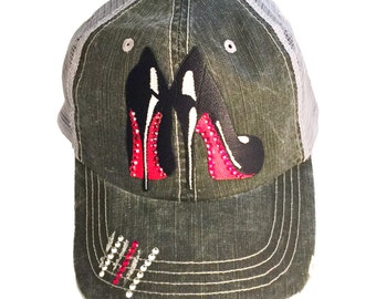 Christian Louboutin Shoes Louboutins Louboutin heels Louboutin pumps Black Louboutin gift-for-her Distressed Hat Distressed Trucker Hat