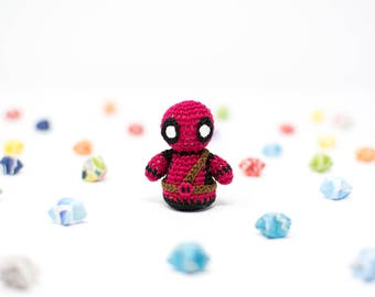 Deadpool / Marvel / Crochet / Amigurumi / Plushie / Miniature / READY TO SHIP