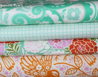 SALE! 4 fat quarter Bundle Up Parasol by Heather Bailey .. Turquoise and tangerine colorway