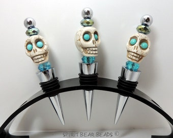 Turquoise Skull Wine stopper Blue Beads  Dia De Muertos Day of the Dead  Gift HALLOWEEN