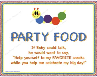 Colorful Caterpillar Party Food & Take A Sip signs- Digital Download