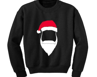 Santa Hat & Beard Graphic Sweatshirt Father Christmas Xmas Top Winter Clothing