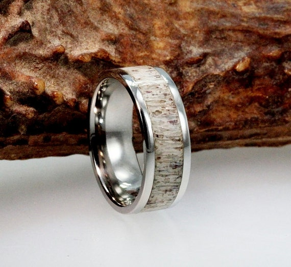 black ring wedding zirconium rings deer titanium inlay buzz antler s men