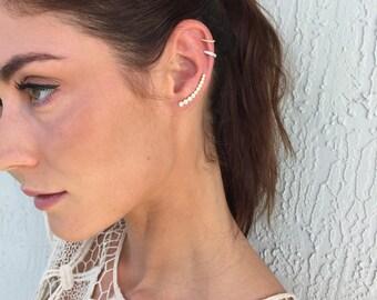 14k diamond CZ  bar earring graduated  ear jacket earring - pave cz sterling 14 k gold or silver CLIMBER