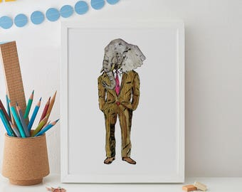 Elephant Man Print A4, elephant print, animal print, gift for him, anthropomorphic, wall art, elephant wall art