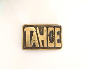 Vintage 1978 Tahoe Brass Belt Buckle