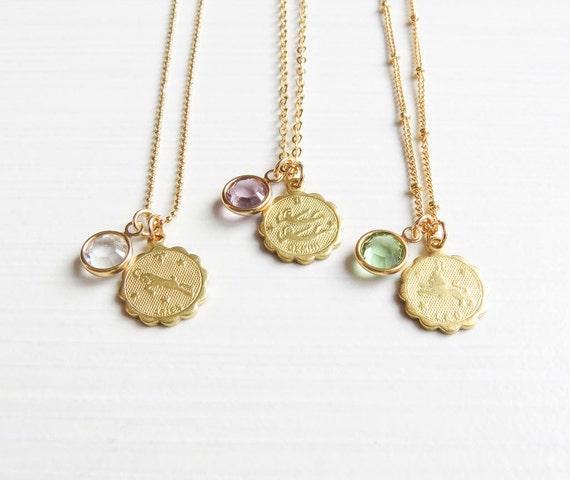 Zodiac and Birthstone Necklace