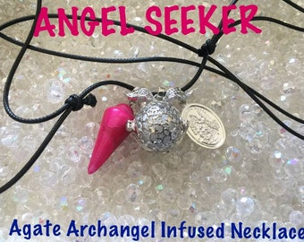 ANGEL SEEKER Agate Pendulum Archangel Infused Necklace  Code 502  1 Only