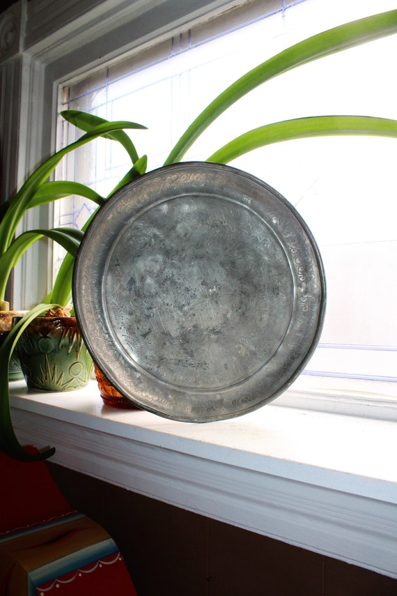 Large Antique Pewter Platter Tray Kut Hing Swatow Circa Qing Dynasty