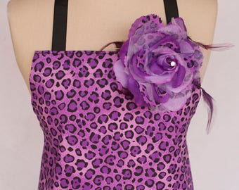 Women's Full Apron, Purple Leopard Print, Ruffled, Retro Apron, Double Pockets, Hair Clip and Pin Included