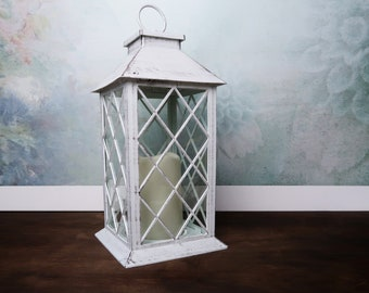 Wedding centerpiece white LED candle lantern party decor plexiglass modern rustic woodland outdoor home shabby chic supply
