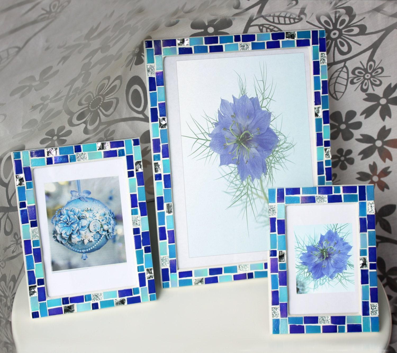 5x7 frame - Mosaic photo frame - Blue frame - Photo frame 5x7 ...