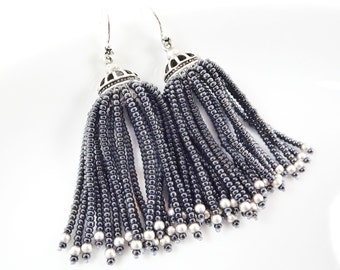 Metallic Deep Grey Beaded Tassel Dangly Statement Earrings - Sterling Silver Earwire