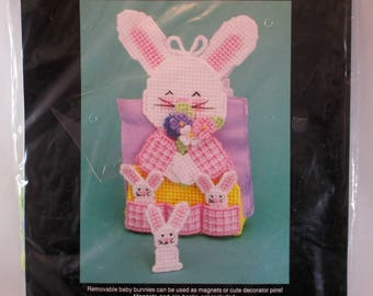 Bucilla Easter Plastic Canvas Kit 6058 Pocket of Bunnies Napkin Holder