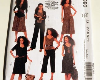 Knit Dress Pullover Top Sleeveless Unlined Jacket  pull on pants capri sewing pattern McCalls 5890 Size 6 8 10 12 14 Nancy Zieman UNCUT FF