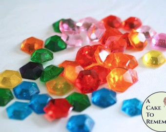 Hexagon edible gems, rupee decorations edible diamonds. Made from isomalt. Sugar jewels for cake decorating or for cupcake toppers