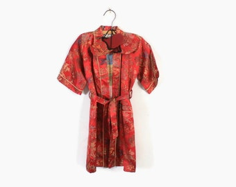 Vintage 60s KIMONO & Slippers / 1960s Child's Asian Brocade Robe Age 5T 6T