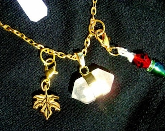 Double Pointed Quartz necklace - Gorgeous Two point (double terminated), includes 2 clip charms, Gold leaf, Multicolor charm, RedRobinArt