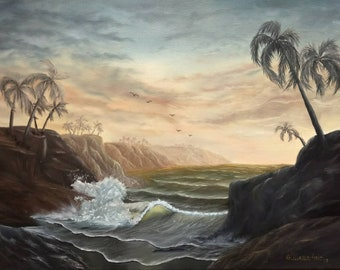 oil painting original seascape 18x24 on canvas by giuseppe mammano italian artist