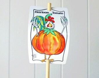 Vegetable Marker Heirloom Tomato for Gardens Humor Decor Aluminum UV Safe